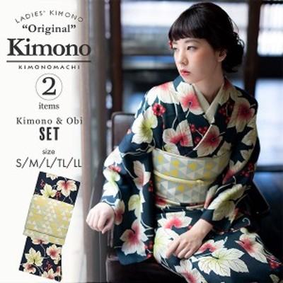 洗える着物 セット「袷着物:葡萄 紺+京袋帯:うろこ」KIMONOMACHI オリジナル 着物と帯の2点セット サイズS/M/L/TL/LL コーディネート