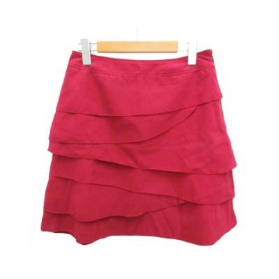 【中古】キャサリンロス KATHARINE ROSS スカート ミニ 台形 ティアード スエード MB ピンク レディース 【ベクトル 古着】