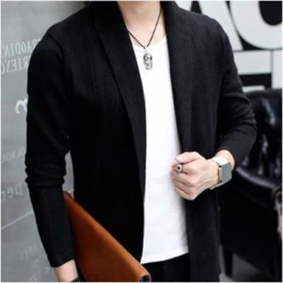 LAZA(ブラック L) メンズジャケット ニットジャケット ジャケット リブ 長袖 ショール ドレープ 無地 コーディガン スリム