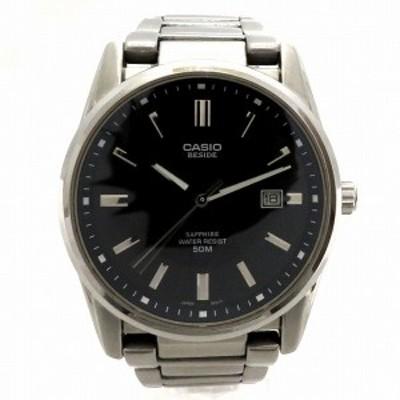 カシオ BESIDE BEM-111D クォーツ ブラック文字盤 時計 腕時計 メンズ【中古】
