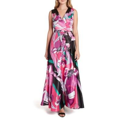タハリ レディース ワンピース トップス Floral Sleeveless Satin Maxi Dress BLACK CORAL FLORAL