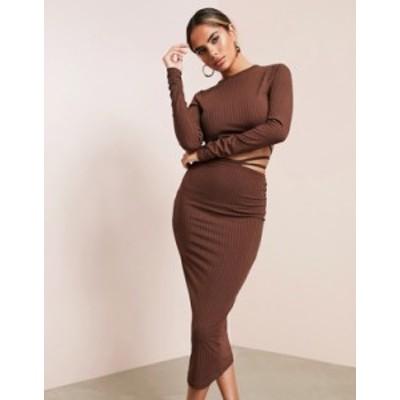 エイソス レディース ワンピース トップス ASOS DESIGN long sleeve strappy ribbed midi dress in chocolate Chocolate