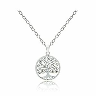 Hoops & Loops Sterling Silver Tree of Life Polished Necklace