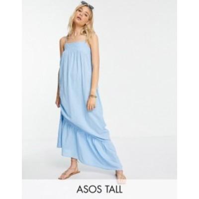 エイソス レディース ワンピース トップス ASOS DESIGN Tall low back tiered maxi dress in icy blue Icy blue