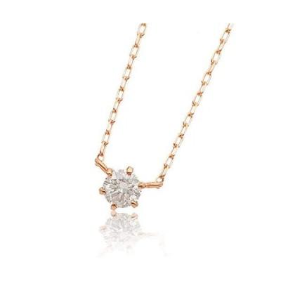 L&Co. (エルアンドコー) ペーパーボックス&バッグ付 K18 シンプル ダイヤモンド 0.1ct 1粒 ネックレス 両吊りデザイン (