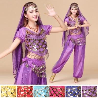 ベリーダンス インドダンス 6色 上下セット 組み合わせ自由 レッスン着 練習服 舞台 ダンス衣装 vft-5057
