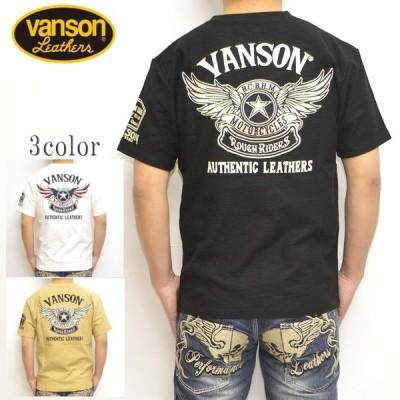 バンソン VANSON NVST-2012 半袖Tシャツ スラブ天竺半袖TEE フライングスター バイク バイカー トップス メンズ