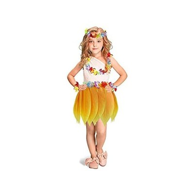 Kids Elastic Hula Skirt Hawaii Party Yellow Leaf skirt with Hibiscus Leis H