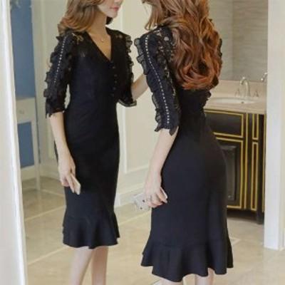 黒 袖あり スレンダーライン パーティードレス ワンピースドレス ワンピース タイトドレス お呼ばれドレス イブニングドレス 二次会 お呼