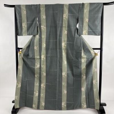 紬 秀品 縦縞 椿 灰緑 袷 身丈169.5cm 裄丈67cm M 正絹 中古