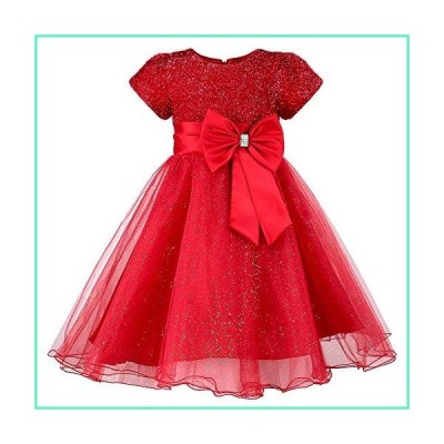 HUAANIUE Girls Flower Girl Red Dress Christmas Party Holiday Dresses Red 3-4 T並行輸入品