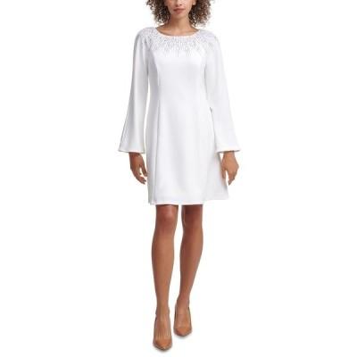 カルバンクライン ワンピース トップス レディース Embellished Shift Dress Cream
