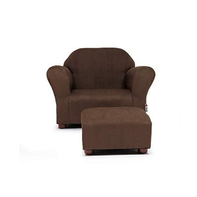 Fantasy Furniture Roundy Chair with Microsuede Ottoman Brown by Fantasy Fur