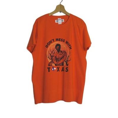 Tシャツ TEXAS プリントTシャツ デッドストック 新品 オレンジ色 レディース XL 大きいサイズ BIG