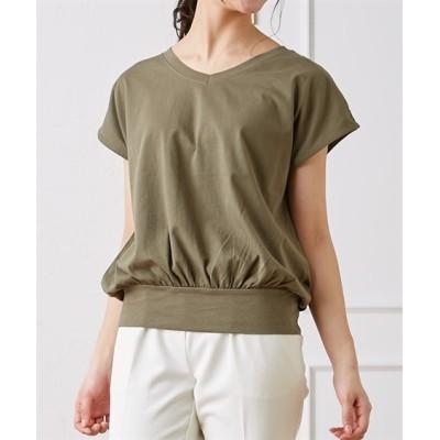 VネックフレンチスリーブTシャツ (Tシャツ・カットソー)(レディース)T-shirts, テレワーク, 在宅, リモート