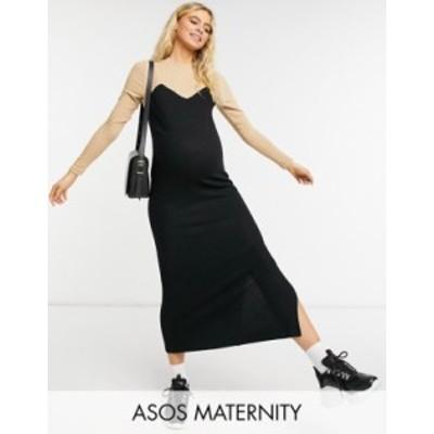 エイソス レディース ワンピース トップス ASOS DESIGN Maternity super soft midi dress with long sleeves in contrast camel and blac