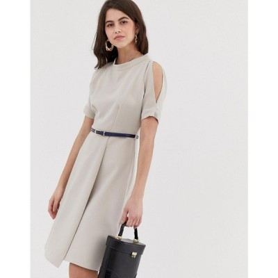 クローゼットロンドン Closet London レディース ワンピース ワンピース・ドレス Closet a line open shoulder dress Taupe