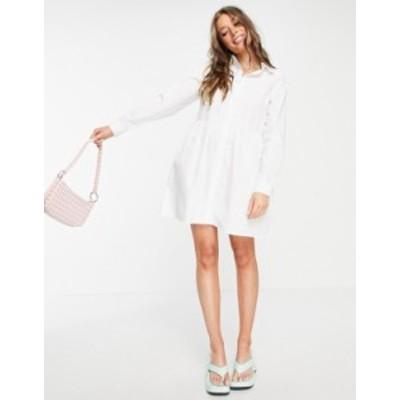 エイソス レディース ワンピース トップス ASOS DESIGN cotton mini smock shirt dress in white White