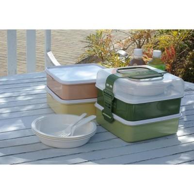 サンコープラスチック 弁当箱 ピクニックケース リオパック L型 2段 取り皿3枚・フォーク3本付き アースベージュ 約幅23.3×奥行22