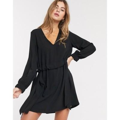 エイソス レディース ワンピース トップス ASOS DESIGN v neck ruched waist chuck on mini dress with long sleeves in black