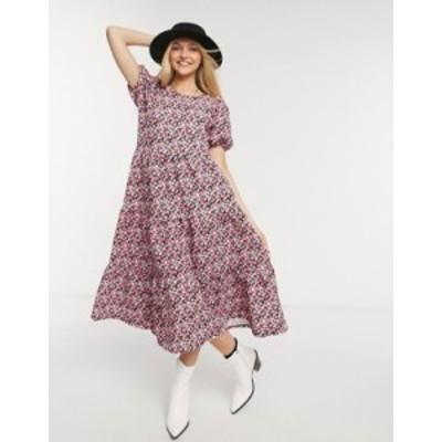 エイソス レディース ワンピース トップス ASOS DESIGN midi tiered smock dress in pink floral print Pink floral print