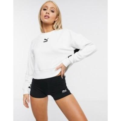 プーマ レディース シャツ トップス Puma Classics cropped sweatshirt in white Puma white
