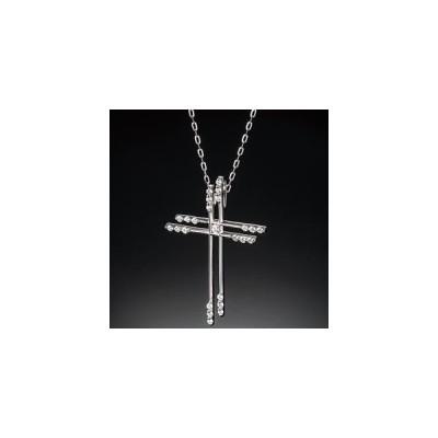 フランダースカット ダイヤモンド付 K18WGクロスペンダント