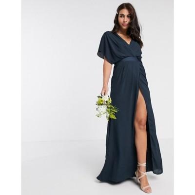 エイソス レディース ワンピース トップス ASOS DESIGN Bridesmaid short sleeved cowl front maxi dress with button back detail