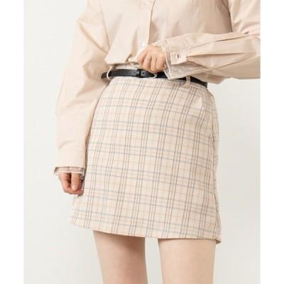 スカート DING/ベルト付きチェックスカート
