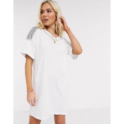 エイソス ミディドレス レディース ASOS DESIGN t-shirt dress with embellished trim in white エイソス ASOS ホワイト 白