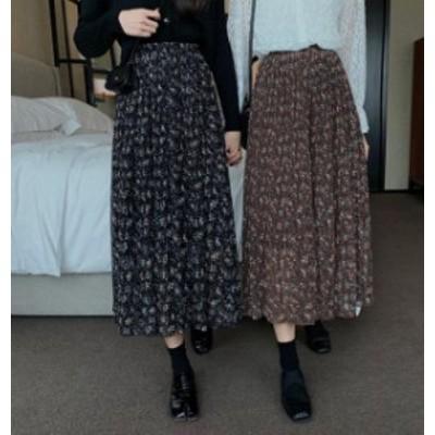 韓国 ファッション レディース プリーツスカート ロング 花柄 ハイウエスト ゆったり ウエストゴム レトロ 大人可愛い カジュアル