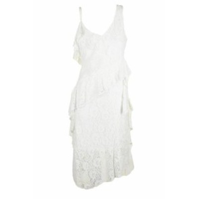taylor テイラー ファッション ドレス Taylor white sleeveless ruffled lace midi dress straight 4