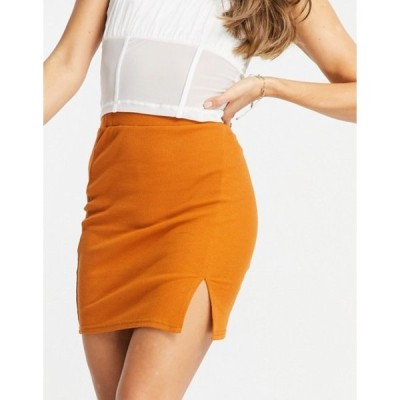 ラブアンドアザーシングス レディース スカート ボトムス Love & Other Things knitted mini skirt with slit in orange