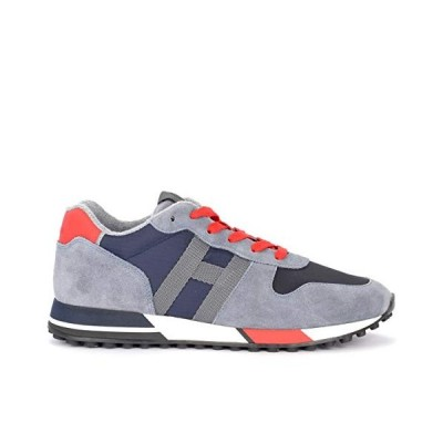 Hogan H383 Sneaker in Gray Suede with Dark Blue Inserts and Red Details 7(UK)-8(US) 並行輸入品