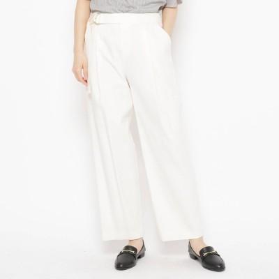エアパペル AIRPAPEL 【ハンドウォッシュ】共ベルト付きセミワイドパンツ (ホワイト)