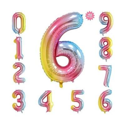 バルーン(0-9)誕生日 数字 バルーン 風船 ナンバー 90cm 風船 数字バルーン ゴム風船 誕生日 パーティー飾りに虹色  (6)
