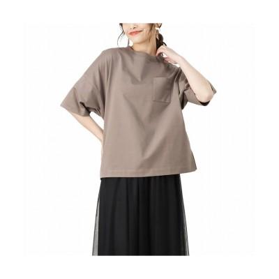 (MAC HOUSE(women)/マックハウス レディース)NAVY ネイビー オーガニックコットン ワイドポケット付きTシャツ OGCS1003/レディース ブラウン