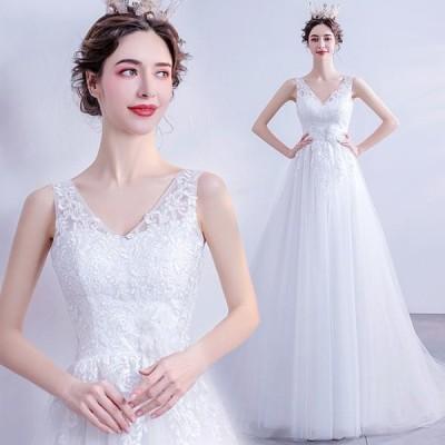ANGEL ノースリーブ 肌透け チュール レース ビジュー トレーン Aライン ロングドレス ホワイト 白 ウエディングドレス ロング ドレス パー