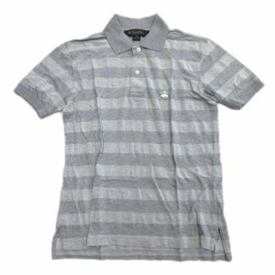 【中古】ブルックスブラザーズ BROOKS BROTHERS ボーダー ロゴ 刺繍 ポロシャツ カットソー 半袖 XS 灰 グレー ♪11