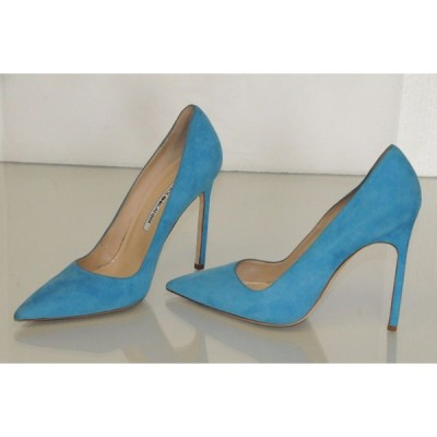 ハイヒール マノロブラニク Manolo Blahnik BB 115 Blue Suede Shoes 4.5 inches Heels Pumps 37 RARE