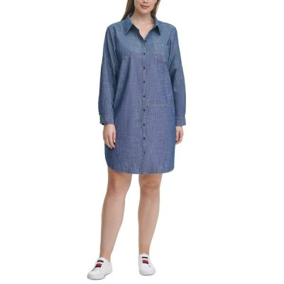 トミー ヒルフィガー ワンピース トップス レディース Plus Size Cotton Chambray Shirtdress Chambray Blue