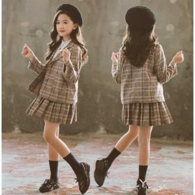 スーツ フォーマル 女の子セットアップ キッズ子供服チェック柄ブレザー プリーツスカート長袖 2点セット 入学式 卒業式 可愛い 通学着アウター