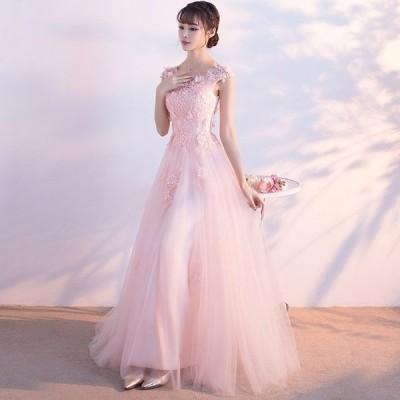 チュールドレス ノースリーブ ピンク 花柄 パール ロングドレス Aライン きれいめ 着痩せ 二次会 披露宴 演奏会 結婚式  パーティードレス