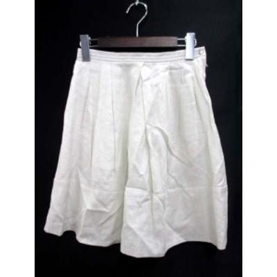 【中古】マカフィー MACPHEE トゥモローランド スカート 34 XS 白 ホワイト リネン ラメ フレア ミニ Ω レディース