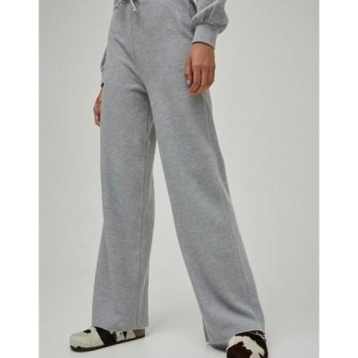プルアンドベアー レディース カジュアルパンツ ボトムス Pull&Bear soft touch wide leg pants set in gray