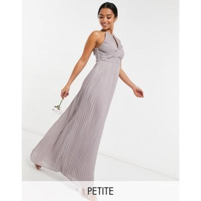 ティーエフエヌシー ミディドレス レディース TFNC Petite bridesmaid pleated wrap detail maxi dress in grey エイソス ASOS