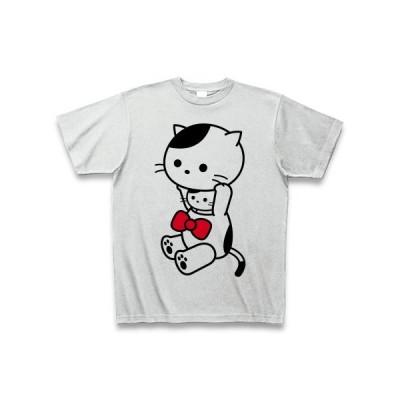 着ぐるみバイトねこ(りぼん) Tシャツ(アッシュ)