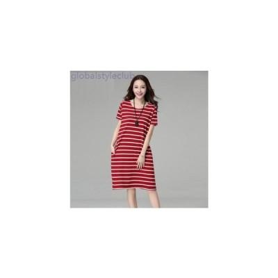 ワンピース ボーダー 普段着 ゆるふわ 大きいサイズ 夏物 レディース 女性 半袖 膝丈 赤 黒 ブルー