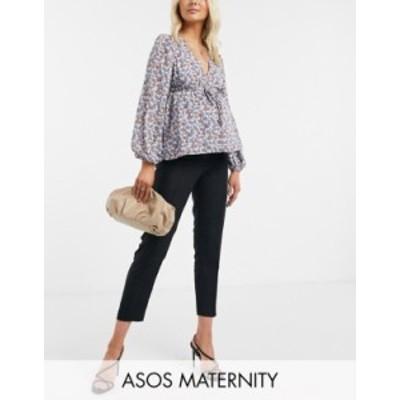 エイソス レディース カジュアルパンツ ボトムス ASOS DESIGN Maternity ultimate linen cigarette pants Black