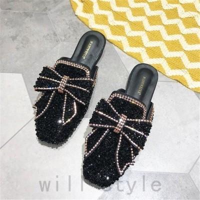 ビーズリボンミュール韓国オルチャンサボラメかわいい原宿系靴きれいめサンダルストリートオフィスローヒールシューズパンプス